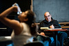 Associate Professor of Theater Ed Gero watches a student perform during a Characterization class at Fairfax campus. Photo by Alexis Glenn/Creative Services/George Mason University
