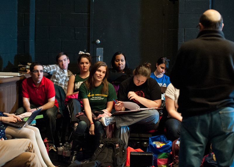 Students listen as Associate Professor of Theater Ed Gero teaches a Characterization class at Fairfax campus. Photo by Alexis Glenn/Creative Services/George Mason University