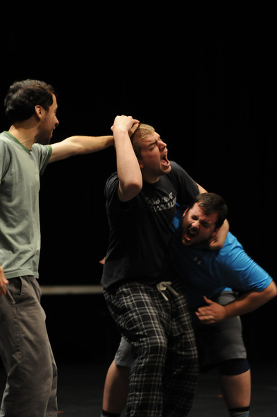 Ken Elston's theater students learn fighting techniques in class.