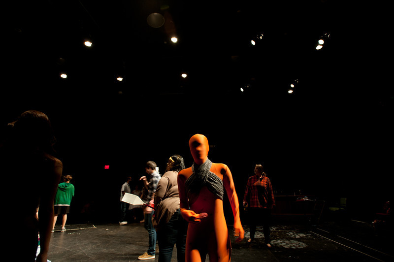 Students practice improv characterization drawing upon characters from their dreams in a Characterization class taught by Associate Professor of Theater Ed Gero at Fairfax campus. Photo by Alexis Glenn/Creative Services/George Mason University