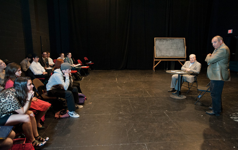 Actor Stacy Keach (C) speaks at a College of Visual and Performing Arts Masterclass, moderated by Professor Ed Gero, at the Black Box Theater at Fairfax Campus. Photo by Alexis Glenn/Creative Services/George Mason University
