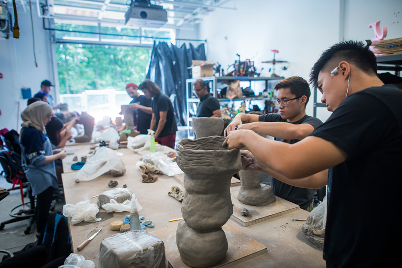 Sculpture students