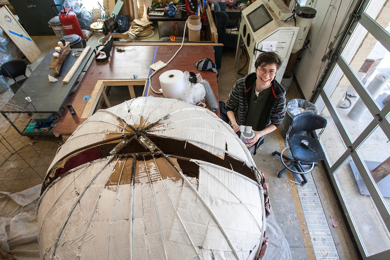 Students work on projects inside the Art and Design building. Photo by Craig Bisacre/Creative Services/George Mason University
