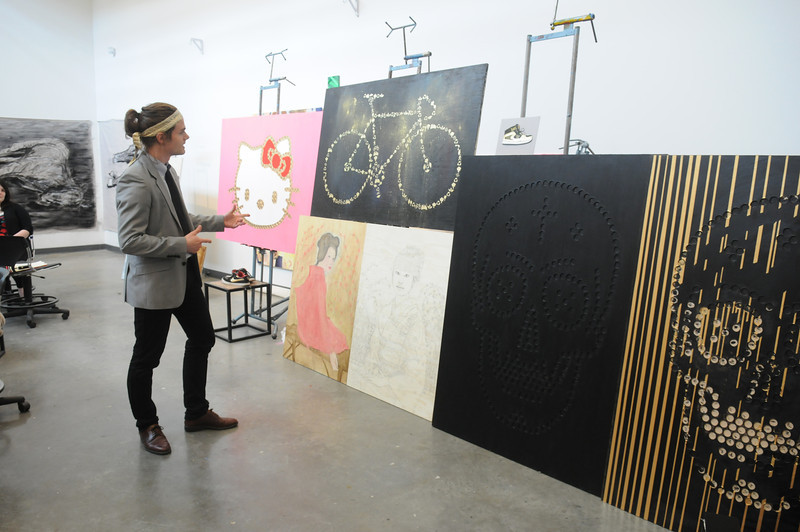 School of Art students in a painting critique. Photo by Creative Services/George Mason University