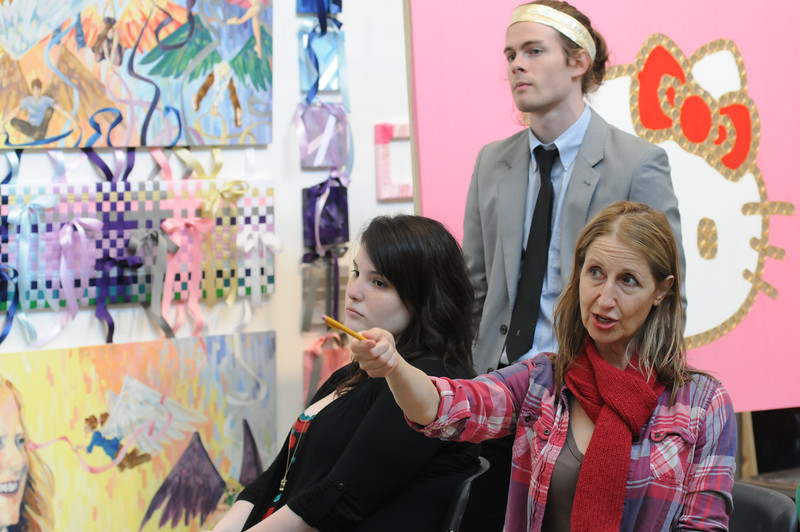 Paula Crawford during a School of Art painting critique. Photo by Creative Services/George Mason University