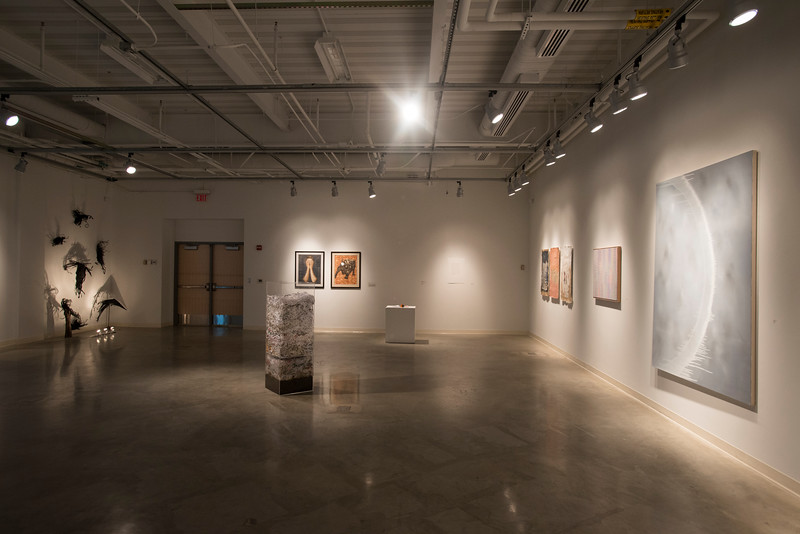 Faculty artwork displayed at the Art and Design building