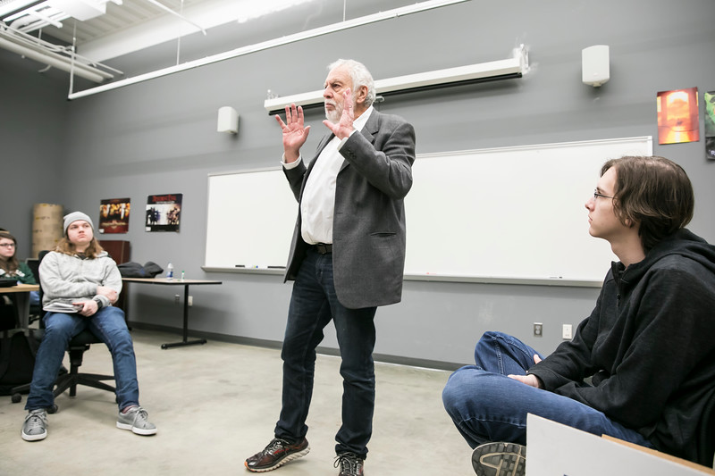Mason's Game Pioneer in Residence, Nolan Bushnell, visits Matthew Nolan's Game 250 class.  Bushnell, who founded Atari and mentored Steve Jobs, is lecturing students and giving workshops on how to start a game-related business. He's founding 20, including Chuck. E. Cheese.
