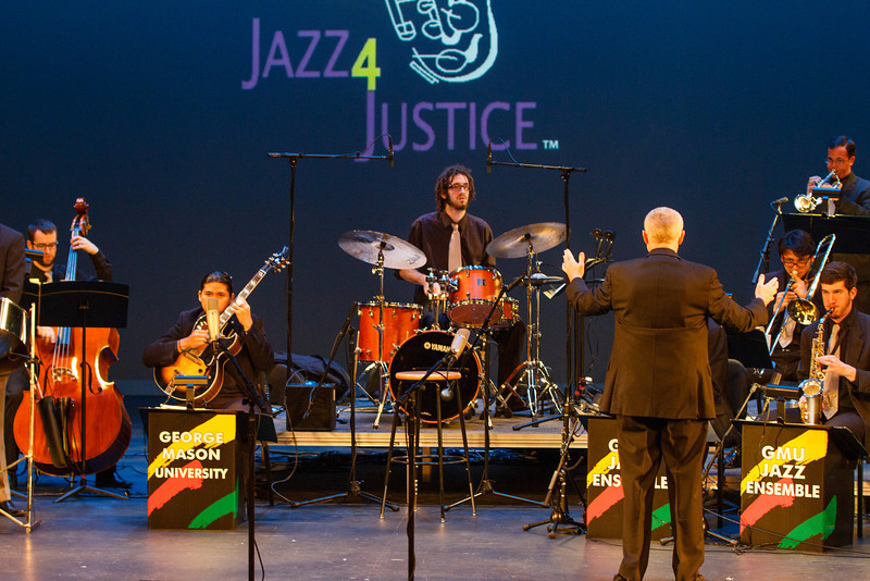 GMU Jazz Ensemble dress rehearsal for the Jazz4Justice concert. Photo by Will Martinez/Creative Services/George Mason University