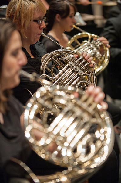 111018515 - Wind Symphony dress rehearsal, Concert Hall. French horns. Photo by Alexis Glenn/Creative Services/George Mason University