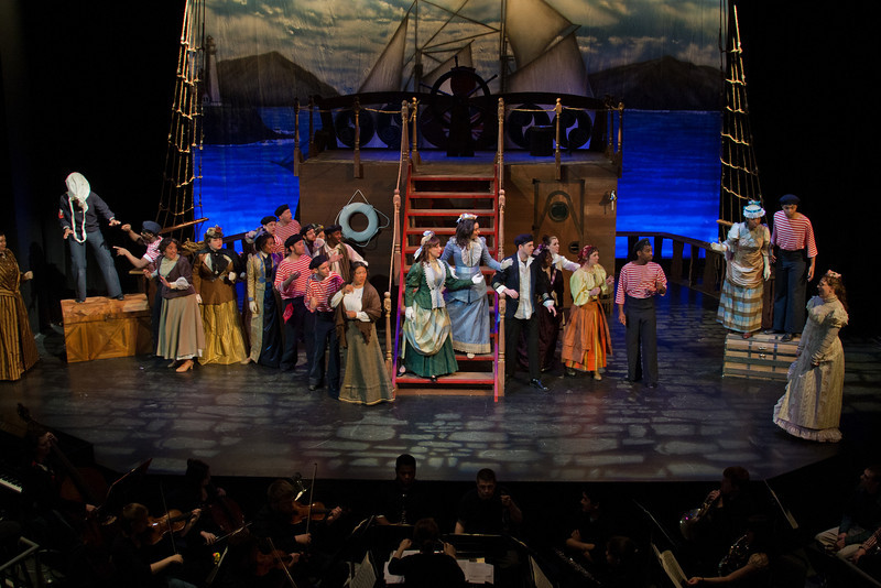 Students rehearse for the Mason Opera's presentation of Gilbert & Sullivan's H.M.S. Pinaforce. Photo by Craig Bisacre/Creative Services/George Mason University
