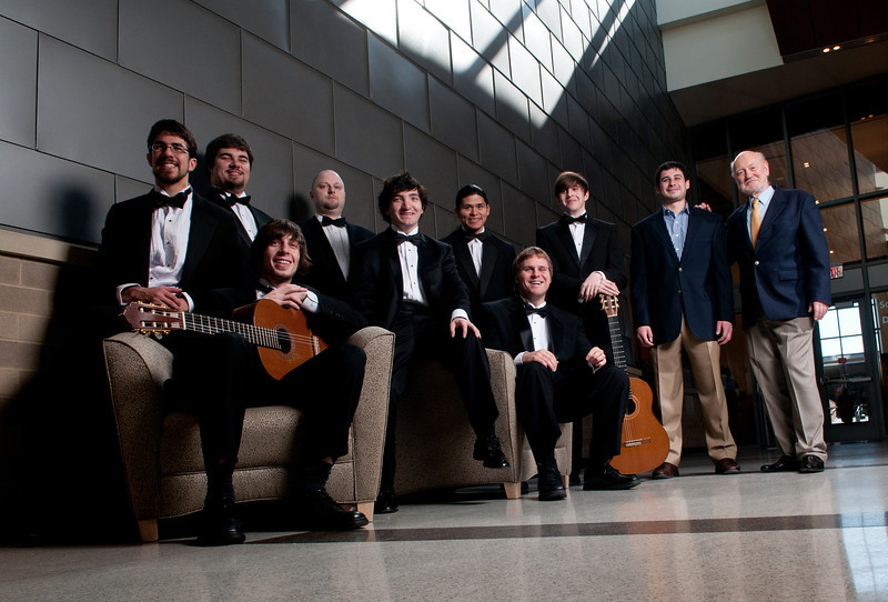 (L to R) Josh Renné, Michael Tinkham, Tim Carolla, Brian Slaymaker, Shirl (Scooter) Lakeway, Cristian Perez,  Jade Hickenbotham, Sean Cunningham, Matt Trkula, Graduate Assistant, Larry Snitzler, Professor, School of Music Guitar Ensemble, CVPA. Photo by Evan Cantwell/Creative Services/George Mason University