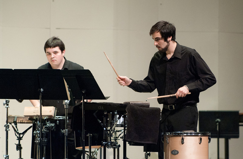 The Percussion Ensemble performs at the Concert Hall on Fairfax Campus. Photo by Alexis Glenn/Creative Services/George Mason University