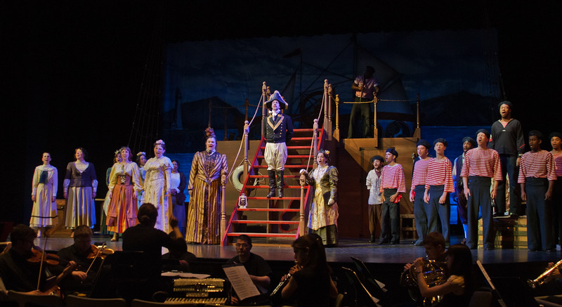 Students rehearse for the Mason Opera's presentation of Gilbert & Sullivan's H.M.S. Pinaforce. Photo by Craig Bisacre/Creative Services/George Mason University