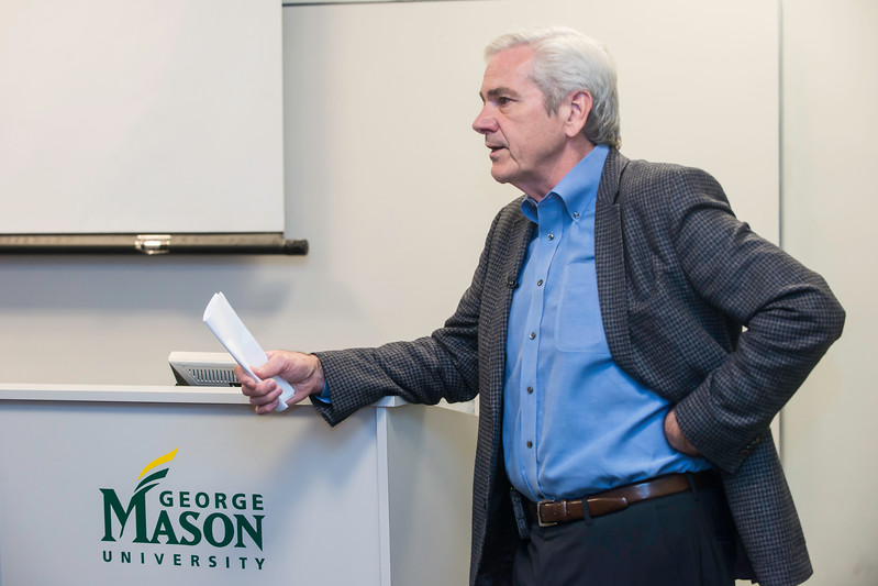 Tom Gjelten, correspondent for National Public Radio and author of A Nation of Nations: A Great American Immigration Story, as guest of Institute for Immigration Research (IIR )colloquium.  Photo by:  Ron Aira/Creative Services/George Mason University