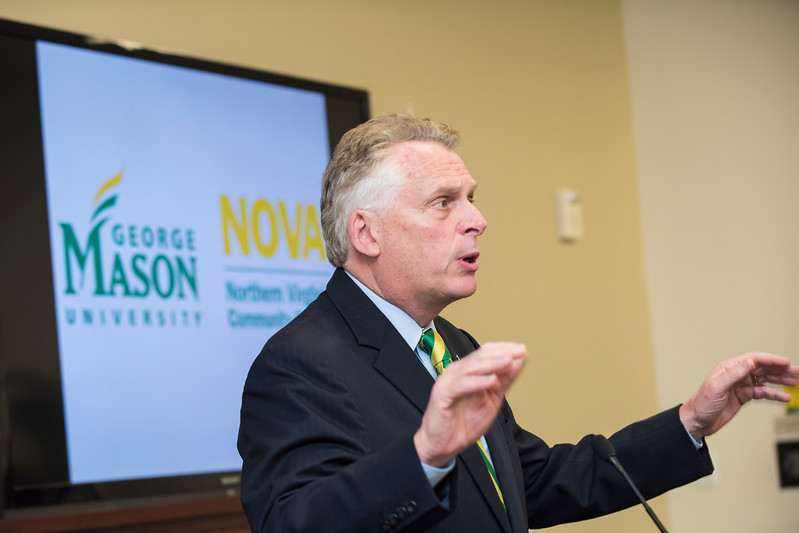 Virginia Gov. Terry McAuliffe visits George Mason University Tuesday, April 4 to announce that Advance: a NOVA-Mason Partnership, will provide a seamless transition for NOVA students who want to earn a four-year degree.  Photo by:  Ron Aira/Creative Services/George Mason University