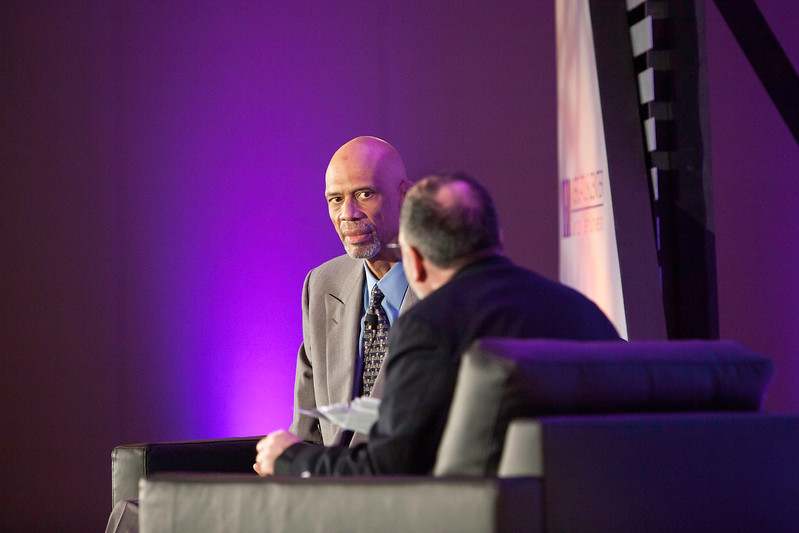 "Mason economist Tyler Cowen and his guest Kareem Abdul-Jabbar.  The ""Conversations with Tyler"" series is hosted by Mason and the Mercatus Center at Mason.<br /> Photo by:  Ron Aira/Creative Services GMU"