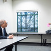 Robinson Professor Laurie Robinson invites Eric Holder, the 82nd Attorney General, for a dialogue on Criminology, Law and Society with Honors College students presenting research to Holder during class on campus.  Photo by:  Ron Aira/Creative Services/George Mason University