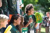 Mason class of 2021 students attend honors freshman orientation and celebrate by the George Mason statue. Photo by Bethany Camp / Creative Services / George Mason University