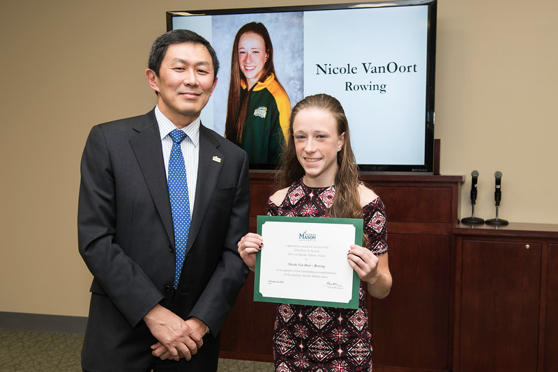 Nicole Van Oort. Dr. David Wu presents the 2016 Peter N. Stearns Provost Scholar Athlete Awards.  Photo by Ron Aira/Creative Services/George Mason University