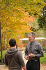 091109123 - Robert Hazen, Robinson Professor and COS faculty, speaks with a student outside of class. Photo by Evan Cantwell/Creative Services/George Mason University
