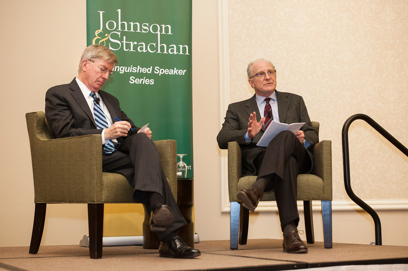 Robinson Professor Steve Pearlstein (R) and George Will speak at the Johnson and Strachan Distinguished Speaker Series at the Mason Inn at Fairfax campus. Photo by Alexis Glenn/Creative Services/George Mason University