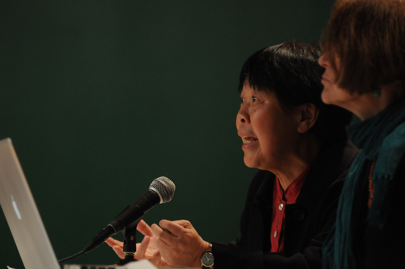 "(Right) Carma Hinton, Robinson Professor, moderates a panel discussion on ""The World's Water Crisis: Can We Afford to Ignore It?"" sponsored by the Provost's Office, Office for Global Strategies, Office of Sustainability, The Honors College, and the Department of History and Art History. Pictured on the left is Dai Qing, author and journalist. Photo by Evan Cantwell/Creative Services/George Mason University"