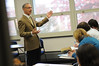 091110666 - Robinson and English Professor Paul D'Andrea in the classroom. Photo by Evan Cantwell/Creative Services/George Mason University