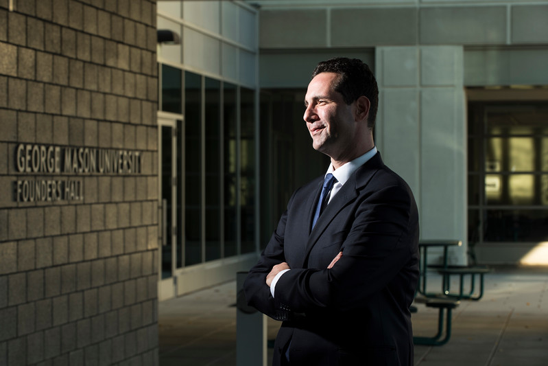 Biodefense PhD grad Craig Wiener will use his knowledge of chemistry, nuclear weapons, synthetic biology and federal policy to keep the world safe.  Photo by:  Ron Aira/Creative Services/George Mason University
