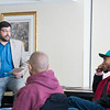S-CAR professor Arthur Romano conducts a workshop, for the State Department, on peace building skills to professional hip hop DJs from around the world.  Photo by:  Ron Aira/Creative Services/George Mason University