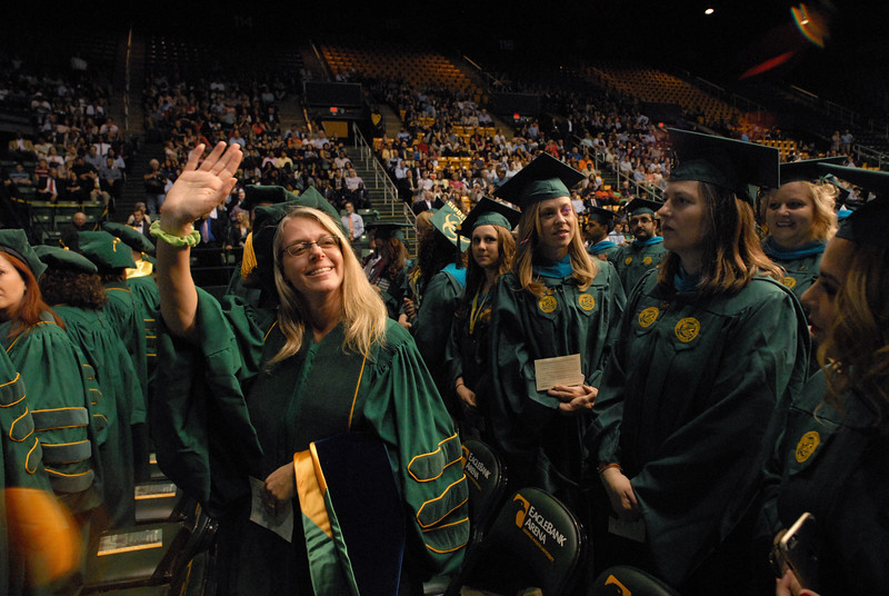 School of Policy, Government and International Affairs graduates participate in the school's convocation at The Eagle Bank Arena at George Mason University in Fairfax, Va., on May 13, 2016. Photo by Laura Sikes
