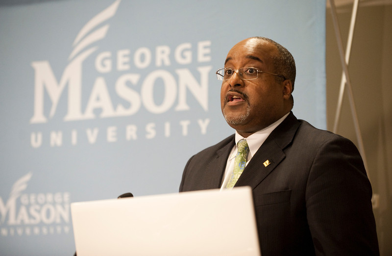 "111010510 - Rawle Andrews, Jr., AARP Regional Vice President, speaks at ""The Race and Public Policy: Issues and Solutions"" conference at George Mason University's School of Public Policy, Arlington campus."