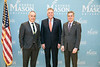 President Ángel Cabrera, Schar School of Policy and Government Dean Mark Rozell welcome Former Virginia Gov. Terry McAuliffe, (center) who joined Mason as a Distinguished Visiting Professor at the Schar School.  Photo by:  Ron Aira/Creative Services/George Mason University