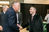 Assistant Professor of Public Policy Justin Gest welcomes Former Virginia Gov. Terry McAuliffe, who joined Mason as a Distinguished Visiting Professor at the Schar School.  Photo by:  Ron Aira/Creative Services/George Mason University