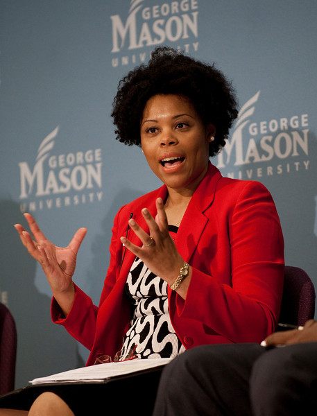 "111010533 - Pearl Ford Dowe, Associate Professor of Political Science, University of Arkansas, speaks at ""The Race and Public Policy: Issues and Solutions"" conference at George Mason University's School of Public Policy, Arlington campus."