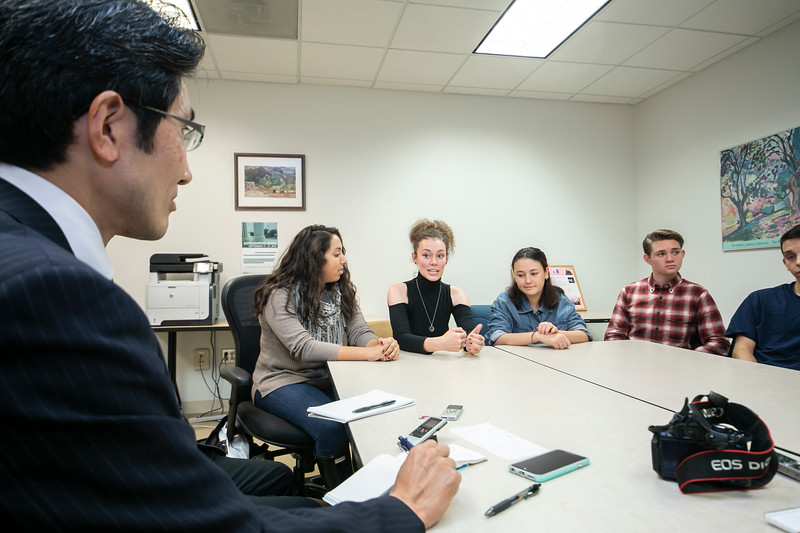 Mason undergraduates participate in a roundtable discussion about the coming elections with three reporters from major Japanese media outlets.  Photo by:  Ron Aira/Creative Services/George Mason University