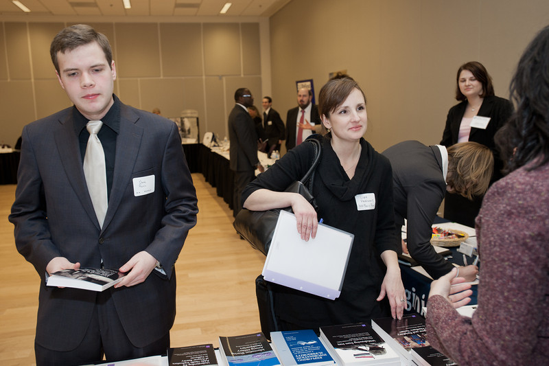 Students of Mason's School of Pubic Policy and The School for Conflict Analysis and Resolution attend a Career and Internship Fair at Mason's Arlington Campus. Photo by Alexis Glenn/Creative Services/George Mason University