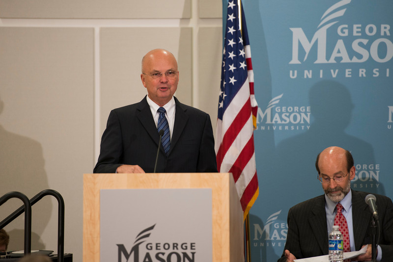 "Former Director of the CIA Gen. Michael Hayden (Ret.) speaks at the ""Intelligence, Policy and Politics: The DCI, White House and Congress"" conference hosted by the Central Intelligence Agency and the School of Public Policy at the Arlington campus. Photo by Alexis Glenn/Creative Services/George Mason University"