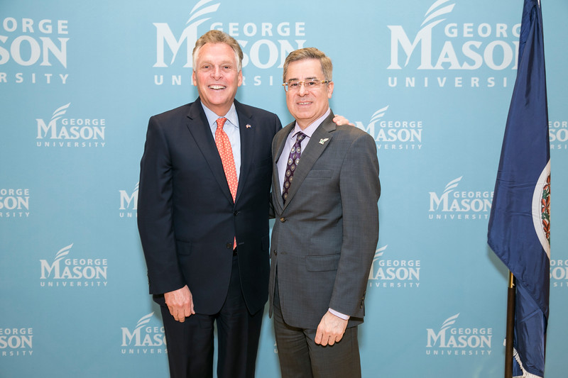Schar School of Policy and Government Dean Mark Rozell welcomes Former Virginia Gov. Terry McAuliffe, (left) who joined Mason as a Distinguished Visiting Professor at the Schar School.  Photo by:  Ron Aira/Creative Services/George Mason University