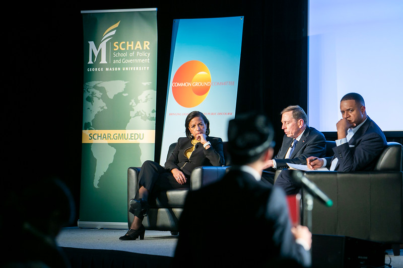"""Former CIA Director General David Petraeus and former Ambassador to the United Nations and National Security Advisor Susan Rice speak during the """"Finding Common Ground on the New Cold War"""" forum cohosted by Schar School of Policy and Government and Common Ground Committee.  Photo by:  Ron Aira/Creative Services/George Mason University"""