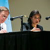 "Former Ambassador to the United Nations and National Security Advisor Susan Rice speaks to GMU's students during the ""Finding Common Ground on the New Cold War"" forum cohosted by Schar School of Policy and Government and Common Ground Committee.  Photo by:  Ron Aira/Creative Services/George Mason University"