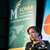 "Former Ambassador to the United Nations and National Security Advisor Susan Rice speaks during the ""Finding Common Ground on the New Cold War"" forum cohosted by Schar School of Policy and Government and Common Ground Committee.  Photo by:  Ron Aira/Creative Services/George Mason University"