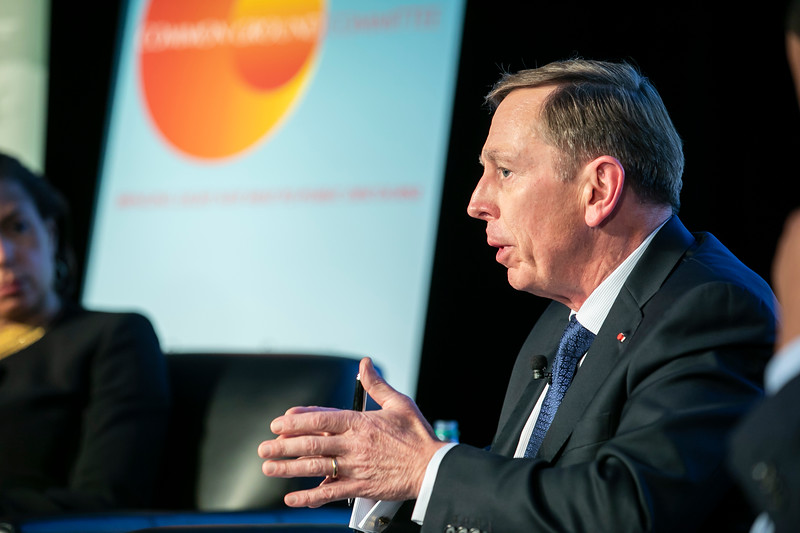"""Former CIA Director General David Petraeus speaks during the """"Finding Common Ground on the New Cold War"""" forum cohosted by Schar School of Policy and Government and Common Ground Committee.  Photo by:  Ron Aira/Creative Services/George Mason University"""