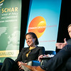 "Former CIA Director General David Petraeus and former Ambassador to the United Nations and National Security Advisor Susan Rice speak during the ""Finding Common Ground on the New Cold War"" forum cohosted by Schar School of Policy and Government and Common Ground Committee.  Photo by:  Ron Aira/Creative Services/George Mason University"