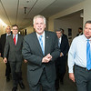 The Honorable Terence McAuliffe, Governor of Virginia, The Honorable John R. Kasich, Governor of Ohio, followed by Mark J. Rozell, Dean Schar School of Policy and Government, and Dwight C. Schar, prior to the Schar School of Policy and Government Dedication.  Photo by Ron Aira/Creative Services/George Mason University