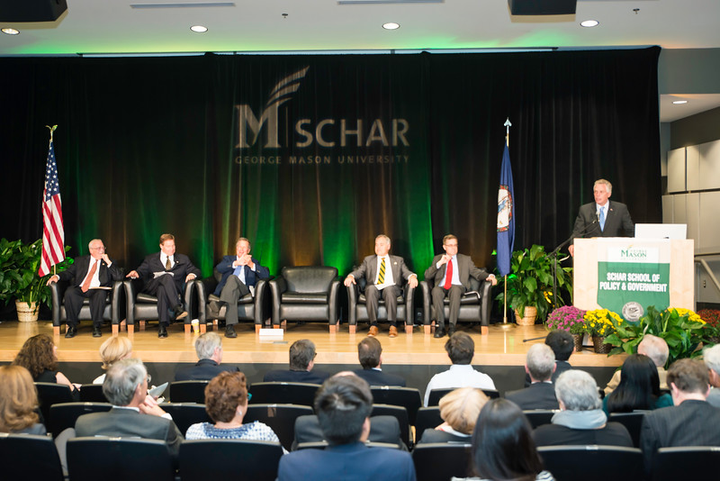 The Honorable Terence McAuliffe, Governor of Virginia, speaks during the Schar School of Policy and Government Dedication.  Photo by Ron Aira/Creative Services/George Mason University