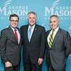 Mark J. Rozell, Dean Schar School of Policy and Government, Dwight C. Schar, The Honorable Terence McAuliffe, Governor of Virginia, and Ángel Cabrera, President, George Mason University before the Schar School of Policy and Government Dedication.  Photo by Ron Aira/Creative Services/George Mason University