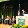 Tom Davis; Rector; George Mason University Board of Visitors speaks during the Schar School of Policy and Government Dedication.  Photo by Ron Aira/Creative Services/George Mason University
