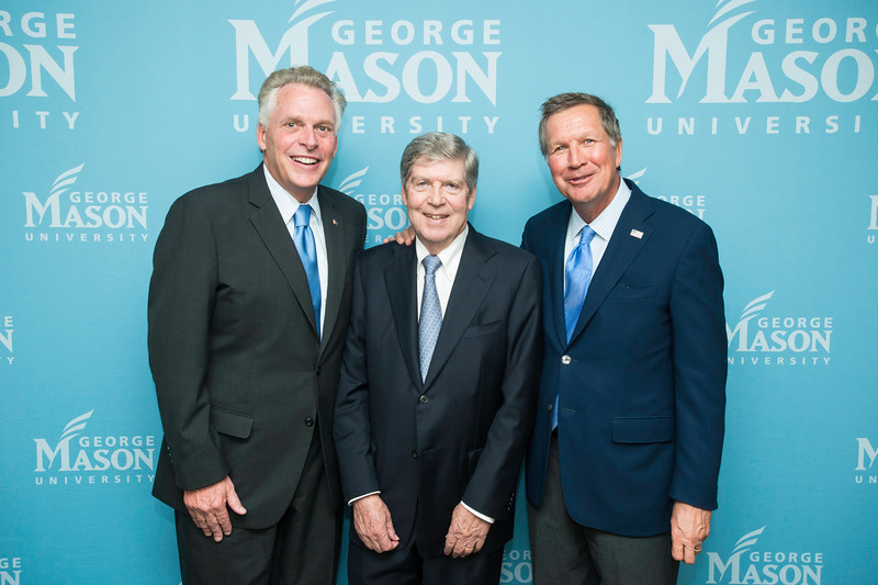 The Honorable Terence McAuliffe, Governor of Virginia, Dwight C. Schar, and The Honorable John R. Kasich, Governor of Ohio, prior to the Schar School of Policy and Government Dedication.  Photo by Ron Aira/Creative Services/George Mason University