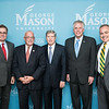 J. Rozell, Dean Schar School of Policy and Government, Gerry Connolly,  United States Representative, VA 11th District, Dwight C. Schar, The Honorable Terence McAuliffe, Governor of Virginia and Ángel Cabrera, President, George Mason University prior to the Schar School of Policy and Government Dedication.  Photo by Ron Aira/Creative Services/George Mason University