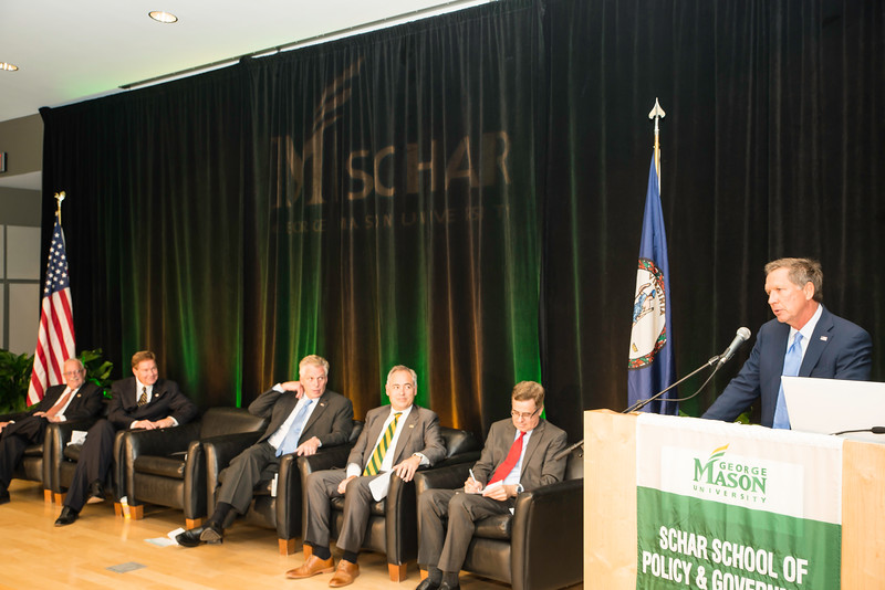 The Honorable John R. Kasich, Governor of Ohio speaks during the Schar School of Policy and Government Dedication.  Photo by Ron Aira/Creative Services/George Mason University